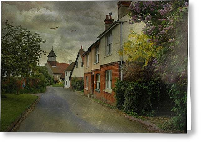 Country Lanes Digital Art Greeting Cards - Showers Greeting Card by Fran J Scott