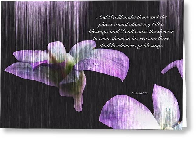 Ezekiel Greeting Cards - Showers of Blessing Greeting Card by Debbie Nobile