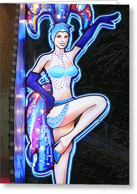 Showgirls Greeting Cards - Showgirl Neon Greeting Card by Ron Regalado