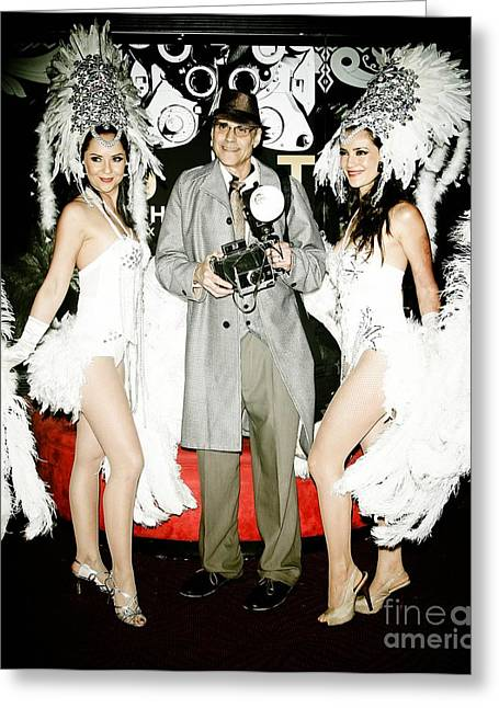 Nina Prommer Greeting Cards - Showgirls and photographer with Polaroid Greeting Card by Nina Prommer