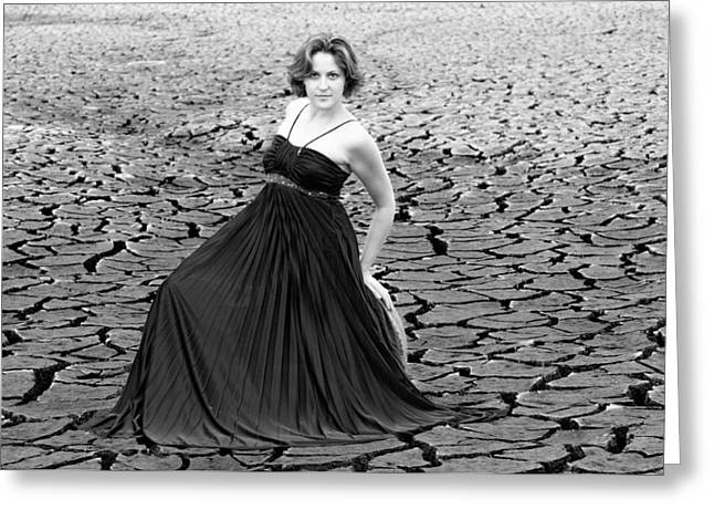 Dry Lake Greeting Cards - Showing some class black and white Greeting Card by Teri Schuster