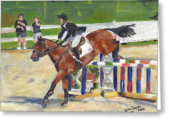 Showjumping Greeting Cards - Showjumping Horse Portrait Greeting Card by Olde Time  Mercantile