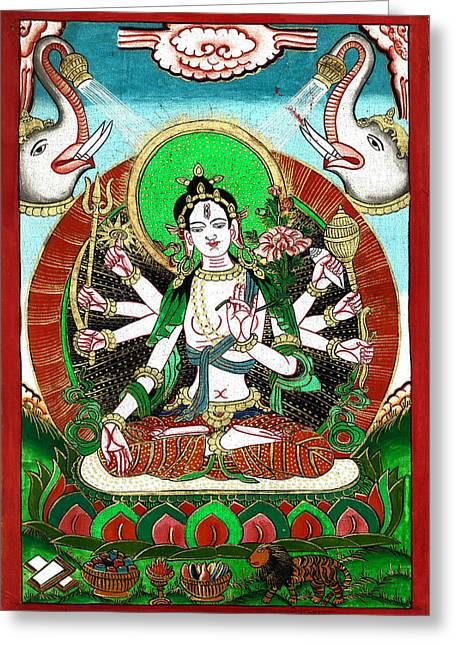 Hindu Goddess Paintings Greeting Cards - Shri Ashtabhuja Mata Greeting Card by Ashok Kumar