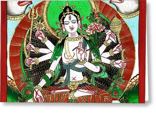 Shri Ashtabhuja Mata Greeting Card by Ashok Kumar