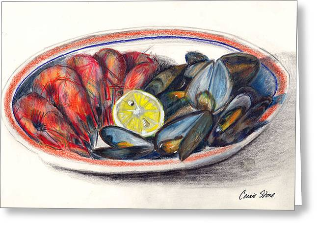 Lemon Art Drawings Greeting Cards - Shrimp and Mussels Greeting Card by Connie Thomas