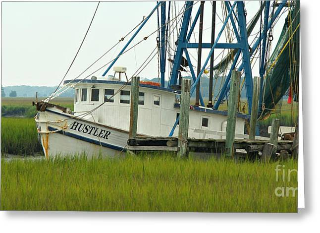 Fishing Boats Greeting Cards - Shrimp Boat and Pelican - Lowlands of South Carolina Greeting Card by Anna Lisa Yoder