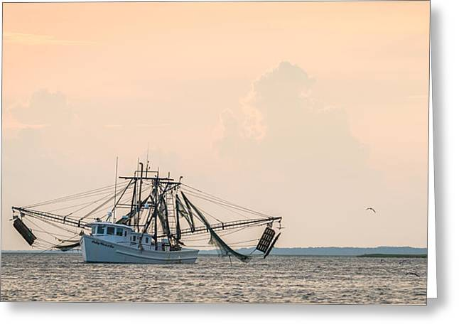 Shrimp Boat At Sunset - Edisto River Photograph Greeting Card by Duane Miller