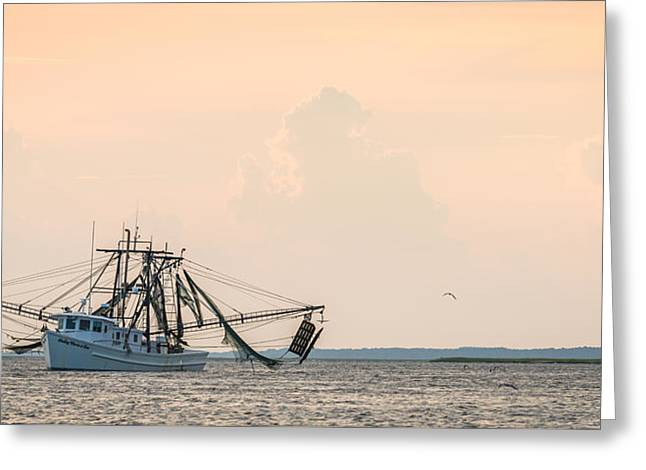 Son Greeting Cards - Shrimp Boat at Sunset - Edisto River Photograph by Duane Miller Greeting Card by Duane Miller