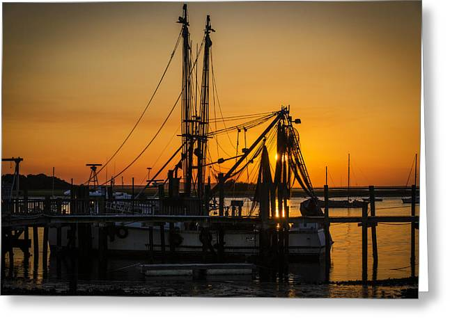 Boats At The Dock Greeting Cards - Shrimp Boat at the dock Greeting Card by  Island Sunrise and Sunsets Pieter Jordaan