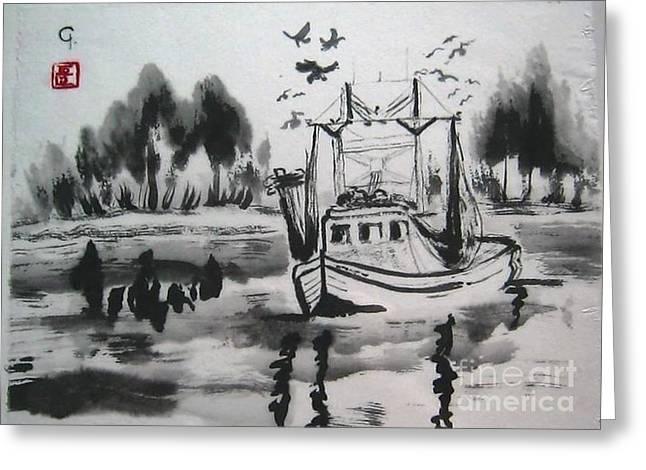 Shrimp Boat Biloxi Greeting Card by Jeanel Walker