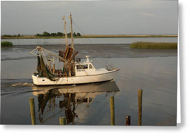 Shrimp Boat On Apalachicola Bay Greeting Card by Jim West