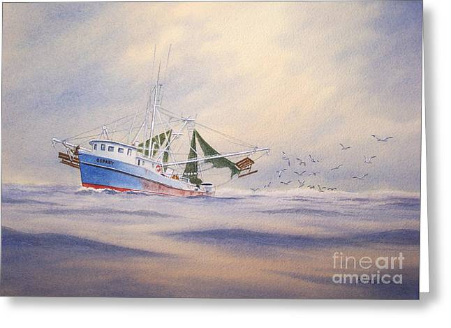 Working Boats Greeting Cards - Shrimp Boat on The Gulf Greeting Card by Bill Holkham