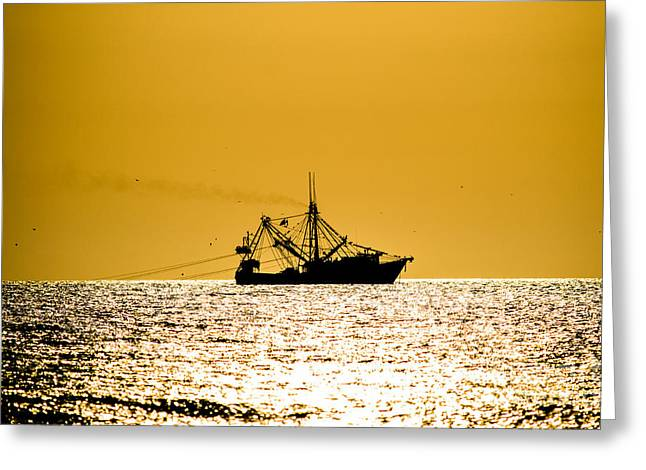 Reflection Harvest Pyrography Greeting Cards - Shrimp boat on the horizon Greeting Card by Michael Bennett