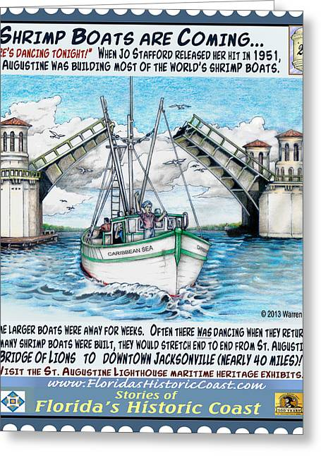 Jacksonville Mixed Media Greeting Cards - Shrimp Boats Are Coming Greeting Card by Warren Clark