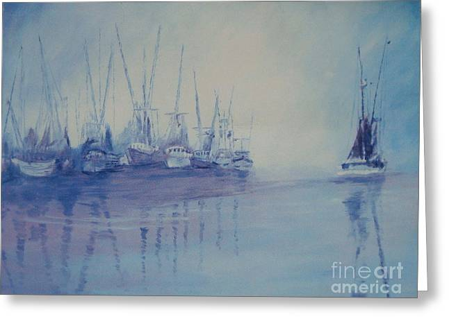 Fog Mist Pastels Greeting Cards - Shrimp boats asleep Greeting Card by Ralph Williams