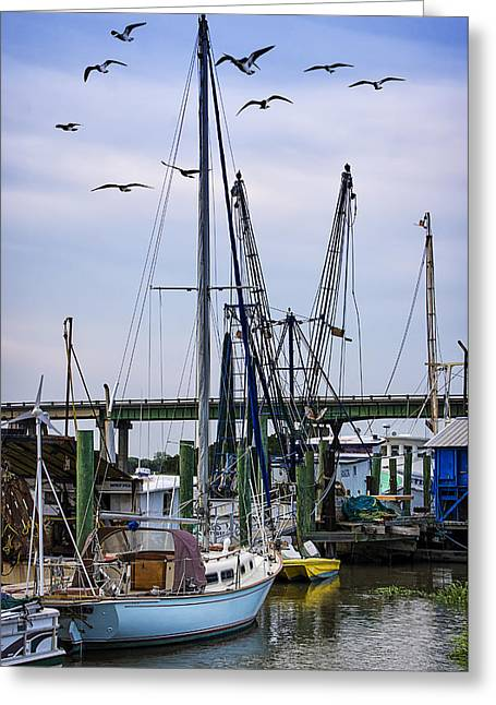 Fishing Creek Greeting Cards - Shrimp boats At Lazaretto Creek Greeting Card by Priscilla Burgers