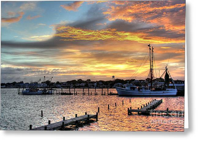 Boats In Harbor Greeting Cards - Shrimp Boats at Sunset Greeting Card by Benanne Stiens