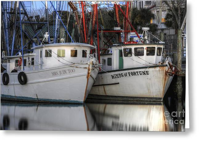 Mt. Pleasant Sc Greeting Cards - Shrimp Boats Reflecting Greeting Card by Dale Powell