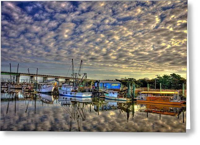 Tybee Island Pier Greeting Cards - Shrimp Boats Docked on Tybee Island near Savannah Greeting Card by Reid Callaway