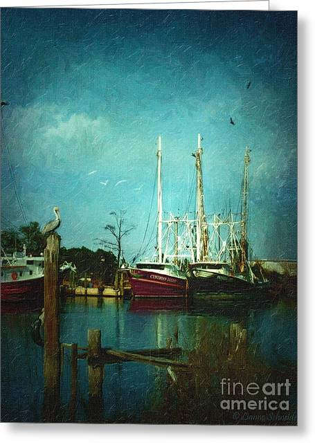 Lianne_schneider Greeting Cards - Shrimp Boats Is A Comin Greeting Card by Lianne Schneider