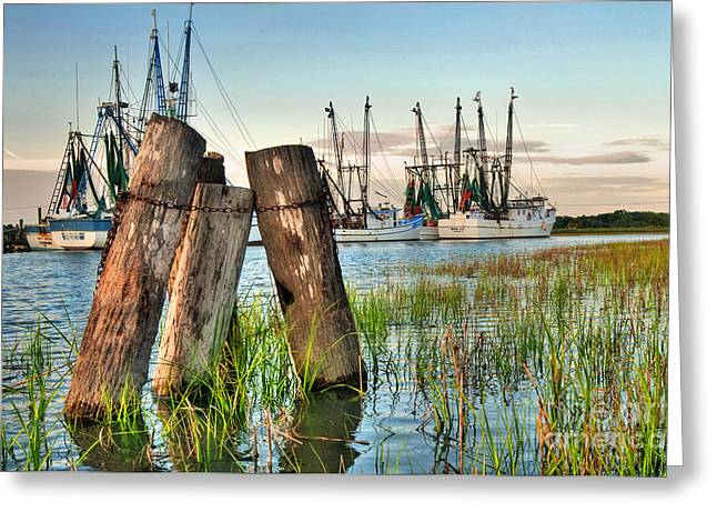 Fishing Creek Greeting Cards - Shrimp Dock Pilings Greeting Card by Scott Hansen