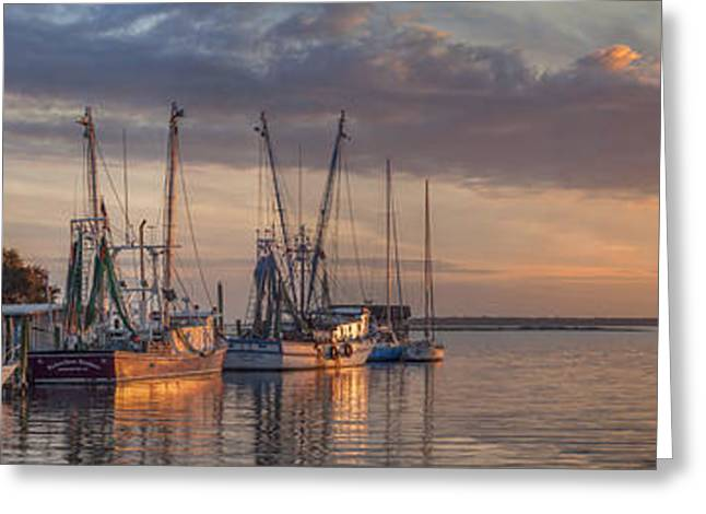 Sailboats Docked Greeting Cards - Shrimp trawlers docked for the night in Charleston South Carolina Greeting Card by Keith Briley