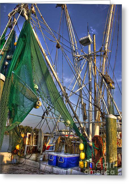 Shrimpers Greeting Cards - Shrimpboat Shrimpers Tools of the Trade Greeting Card by Reid Callaway