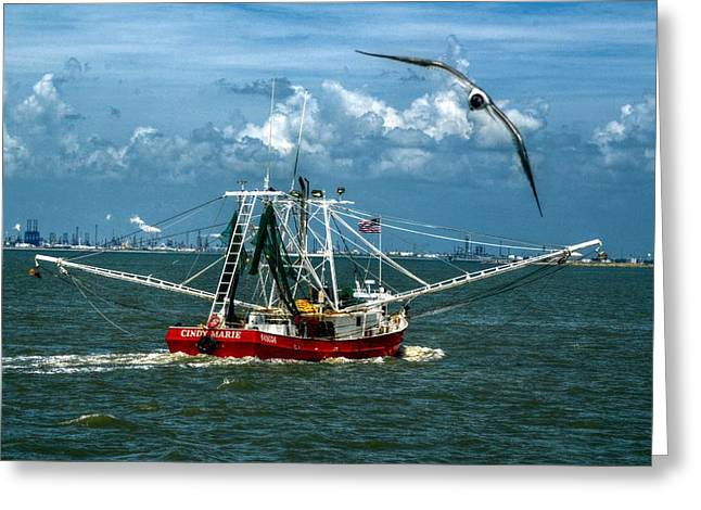 Galveston Greeting Cards - Shrimper in Gulf of Mexico Greeting Card by Kelly Kitchens