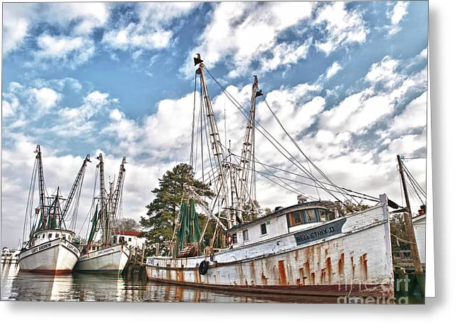 Mike Covington Greeting Cards - Shrimpers at Rest Greeting Card by Mike Covington