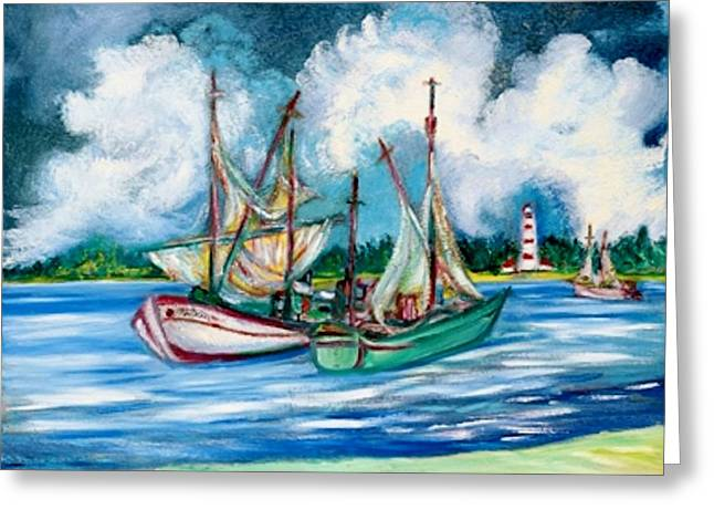 Art Sale Sculptures Greeting Cards - SHRIMPERS at the LIGHTHOUSE Greeting Card by Gunter  Hortz