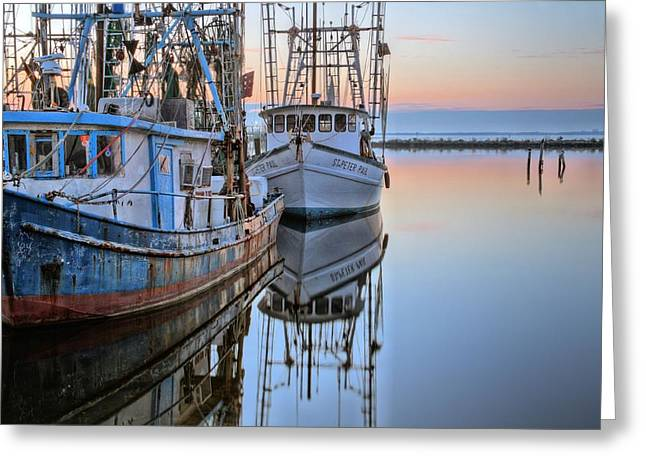 Calm Waters Greeting Cards - Shrimpers on Pensacola Bay Greeting Card by JC Findley