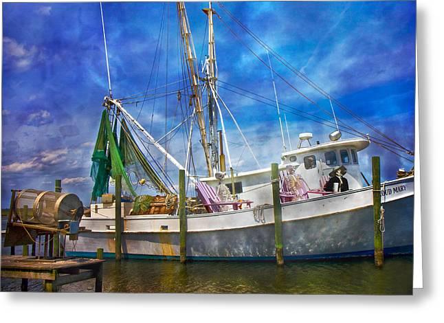Shrimpin' Boat Captain And Mates Greeting Card by Betsy Knapp