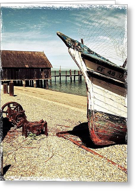 China Beach Greeting Cards - Shrimping Boat at China Camp Greeting Card by Amy Fearn