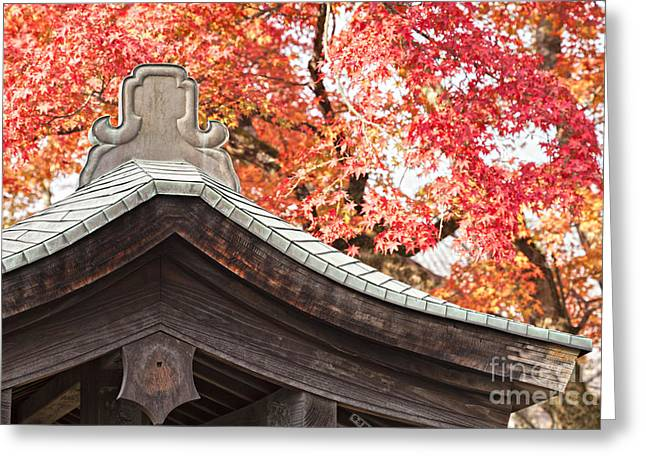 Shrine Roof And Autumn Leaves Arashiyama Kyoto Greeting Card by Colin and Linda McKie