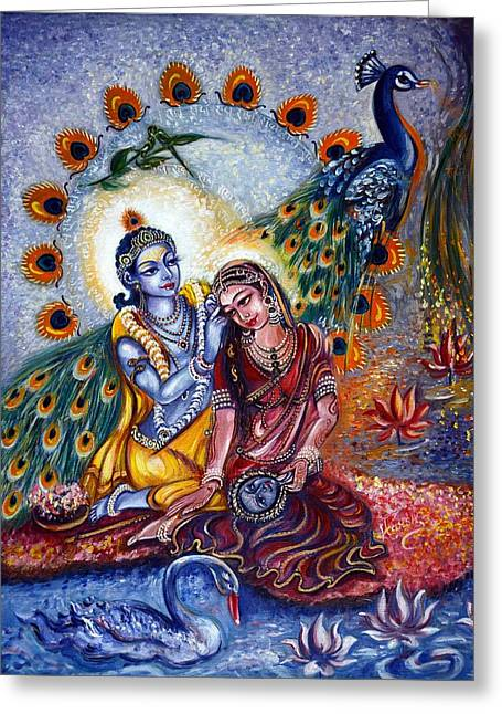 Swans... Greeting Cards - Shringar Leela Greeting Card by Harsh Malik