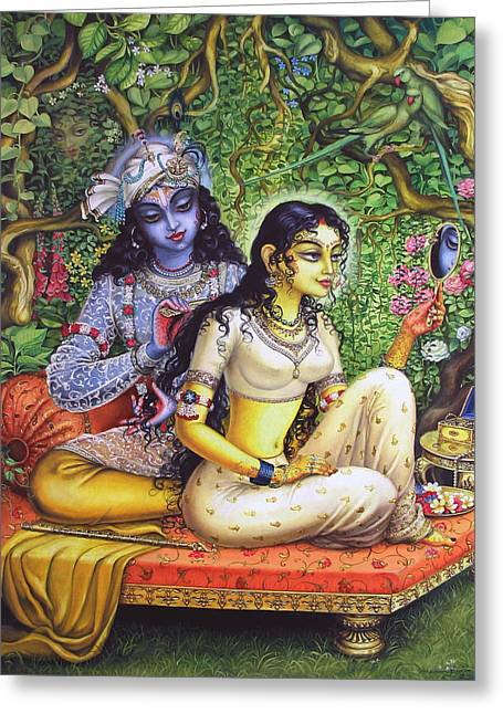 Hinduism Greeting Cards - Shringar lila Greeting Card by Vrindavan Das
