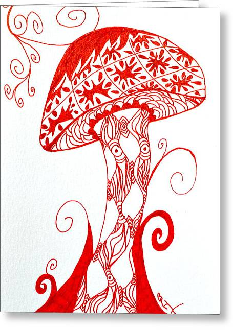 Meditate Drawings Greeting Cards - Shroomfest 2013 Greeting Card by Beverley Harper Tinsley