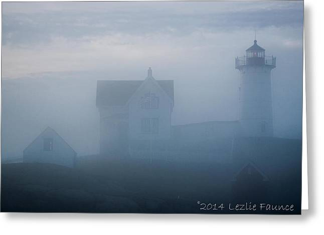 Cape Neddick Greeting Cards - Shrouded Greeting Card by Lezlie Faunce