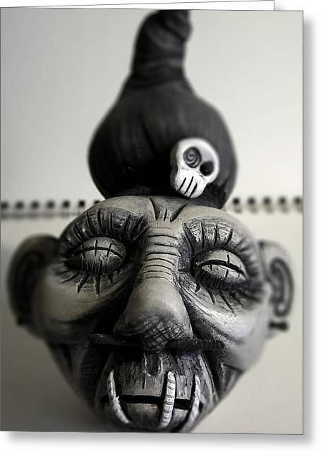 Black-and-white Sculptures Greeting Cards - Shrunken Head Greeting Card by Julie Jones