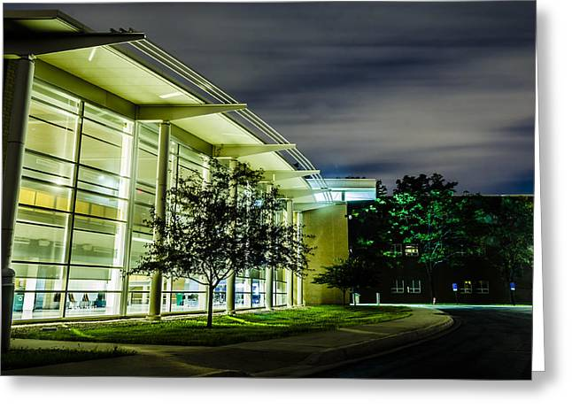 Leed Greeting Cards - SHS Lower cafeteria at night Greeting Card by Alan Marlowe