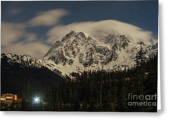 Baker Greeting Cards - Shuksan Night Moves Greeting Card by Mike Reid