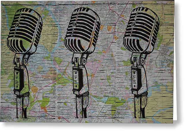 Recently Sold -  - Lino Greeting Cards - Shure 55s on map Greeting Card by William Cauthern