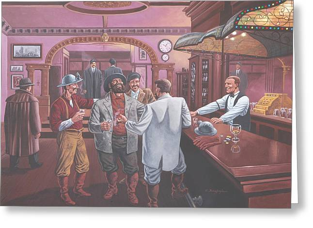 Saloons Drawings Greeting Cards - Shutes Bar Greeting Card by Kevin Breyfogle