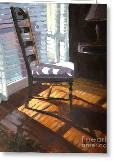 Ladder Back Chairs Greeting Cards - Shuttered Repose  Greeting Card by Nancy  Parsons