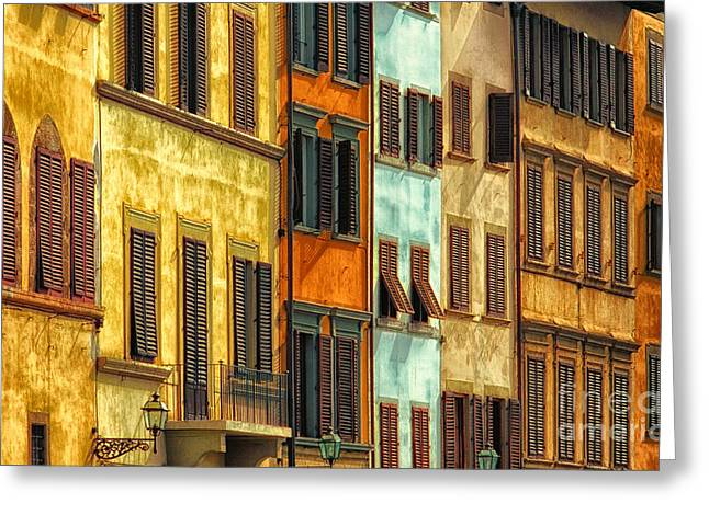 Shuttered Windows Of Florence Greeting Card by Mike Nellums