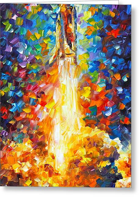 Nasa Space Shuttle Greeting Cards - Shuttle Discovery  Greeting Card by Leonid Afremov