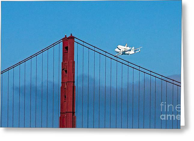 Kate Brown Greeting Cards - Shuttle Endeavour at the Golden Gate Greeting Card by Kate Brown