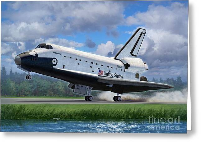 Space Shuttle Greeting Cards - Shuttle Endeavour Touchdown Greeting Card by Stu Shepherd
