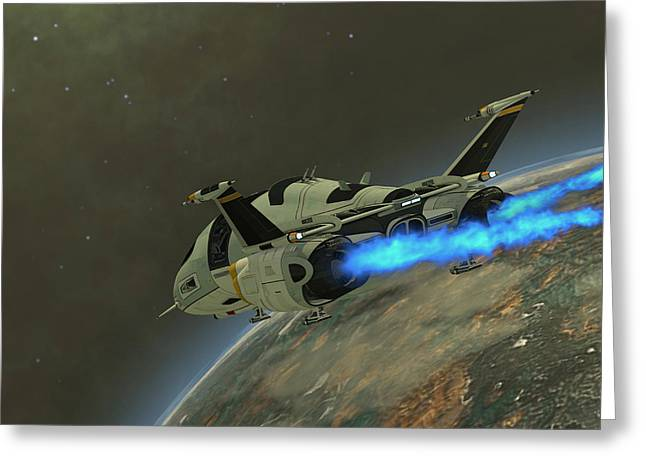 Jet Star Digital Art Greeting Cards - Shuttlestar Transport Greeting Card by Corey Ford