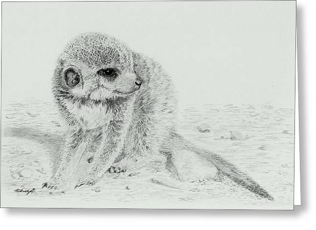 Meerkat Drawings Greeting Cards - Shy Baby Greeting Card by Wendy Brunell